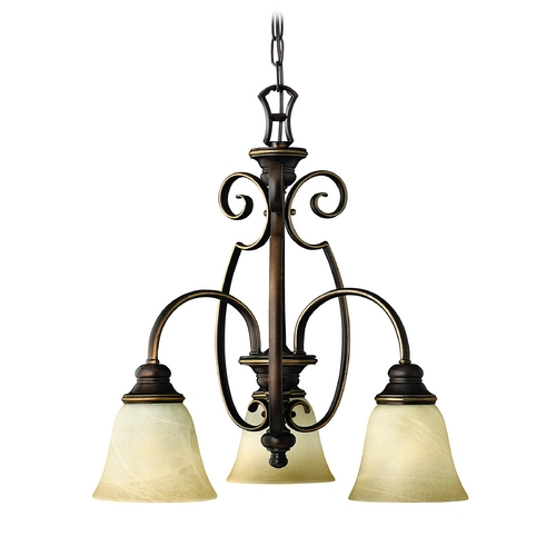 Hinkley Lighting Mini-Chandelier with Alabaster Glass in Antique Bronze Finish 4563AT