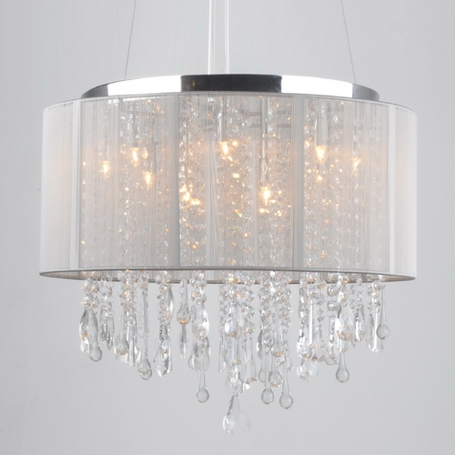 Avenue Lighting Avenue Lighting Beverly Drive Chrome Pendant Light with Drum Shade HF1502-TP