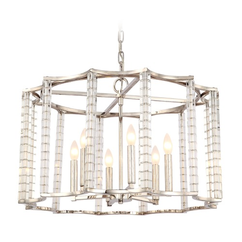 Crystorama Lighting Crystorama Lighting Carson Polished Nickel Pendant Light 8856-PN