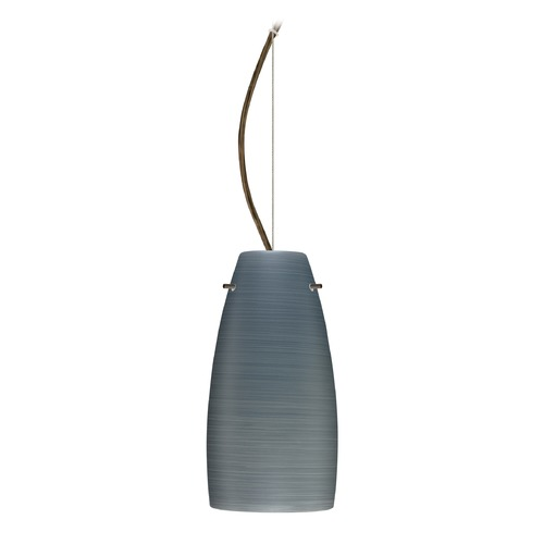 Besa Lighting Besa Lighting Tao Bronze LED Mini-Pendant Light with Oblong Shade 1KX-1512TN-LED-BR