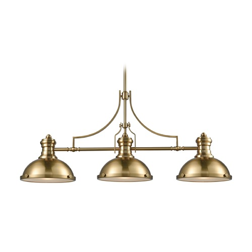 Elk Lighting Elk Lighting Chadwick Satin Brass Island Light with Bowl / Dome Shade 66595-3