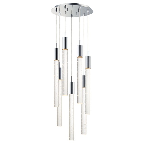 ET2 Lighting ET2 Big Fizz Polished Chrome LED Multi-Light Pendant with Cylindrical Shade E22877-91PC