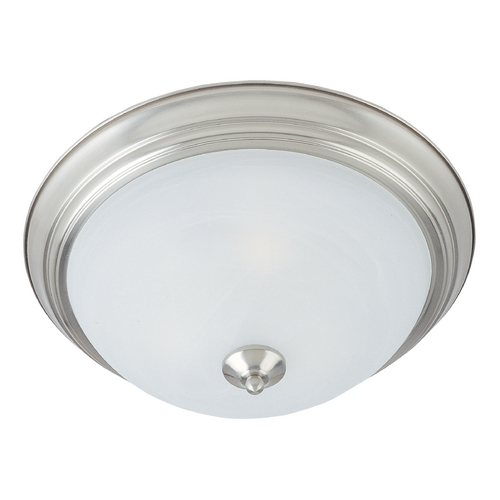 Maxim Lighting Flushmount Light with Alabaster Glass in Satin Nickel Finish 5842MRSN