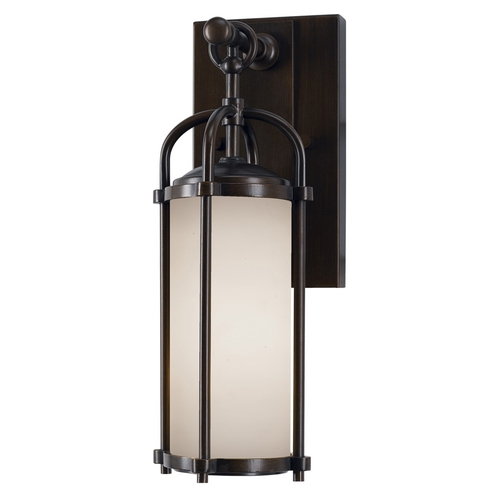 Feiss Lighting Modern Outdoor Wall Light with White Glass in Espresso Finish OL7600ES