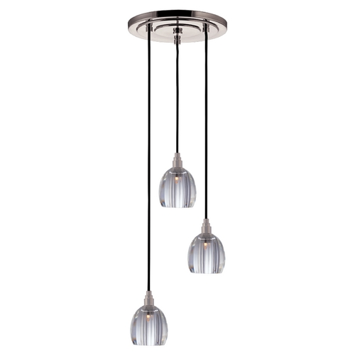 Hudson Valley Lighting Modern Multi-Light Pendant Light with Clear Glass and 3-Lights 3613-SN-B-004