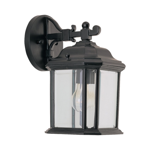 Sea Gull Lighting Outdoor Wall Light with Clear Glass in Black Finish 84029-12