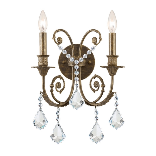 Crystorama Lighting Crystal Sconce Wall Light in English Bronze Finish 5112-EB-CL-S