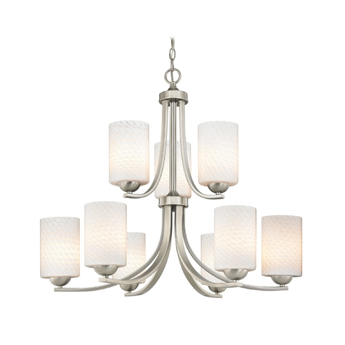 Design Classics Lighting Art Glass Chandelier with Nine Lights and Cylinder Shades 586-09 GL1020C