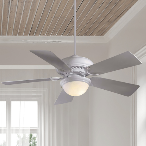 Minka Aire 44-Inch Supra Ceiling Fan with Five Blades and Light Kit F563-SP-WH