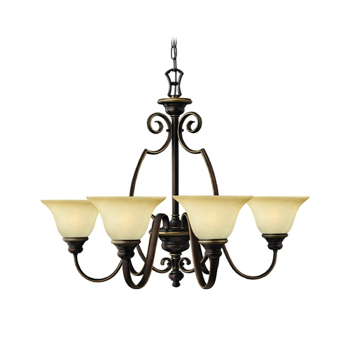 Hinkley Lighting Chandelier with Alabaster Glass in Antique Bronze Finish 4566AT