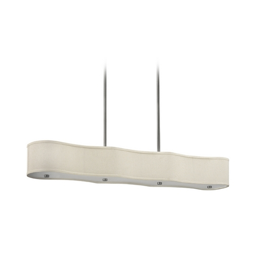 Hinkley Lighting Modern Island Light with Beige / Cream Shades in Brushed Nickel Finish 3806BN