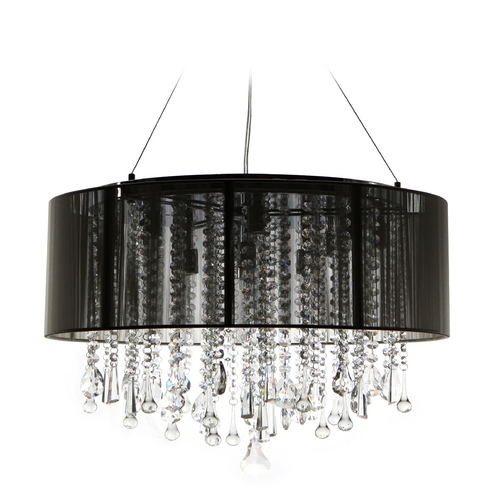Avenue Lighting Avenue Lighting Beverly Drive Chrome Pendant Light with Drum Shade HF1500-BLK