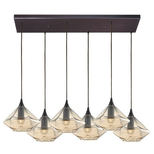 Elk Lighting Elk Lighting Geometrics Oil Rubbed Bronze Multi-Light Pendant with Conical Shade 10450/6RC