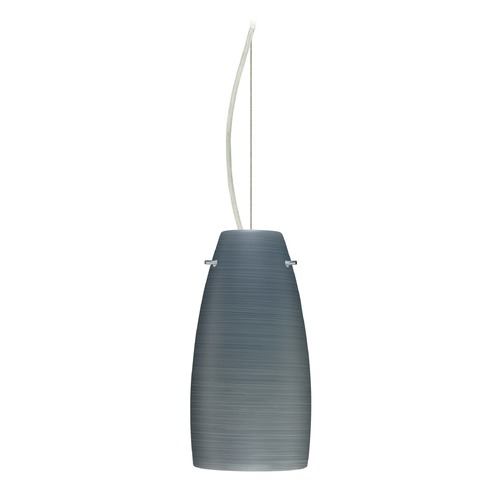 Besa Lighting Besa Lighting Tao Satin Nickel LED Mini-Pendant Light with Oblong Shade 1KX-1512TN-LED-SN
