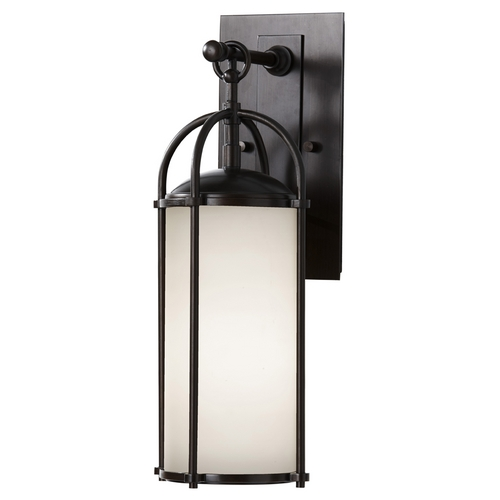 Feiss Lighting Modern Outdoor Wall Light with White Glass in Espresso Finish OL7604ES