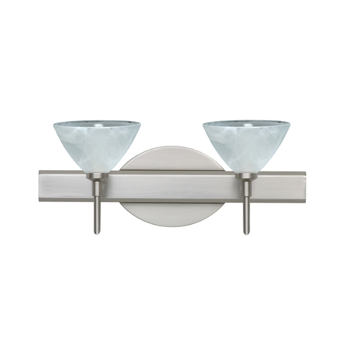 Besa Lighting Modern Bathroom Light with Marbled Glass in Satin Nickel Finish 2SW-174352-SN
