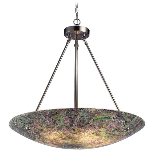 Elk Lighting Modern Pendant Light with Multi-Color Glass in Satin Nickel Finish 73023-5