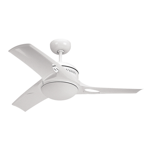 Monte Carlo Fans Modern Ceiling Fan with Light with White Glass in White / Matte Opal Finish 3MTR38WHO-L
