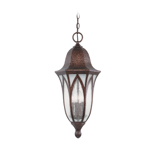 Designers Fountain Lighting Frosted Seeded Glass Outdoor Hanging Light Copper Designers Fountain Lighting 20634-BAC