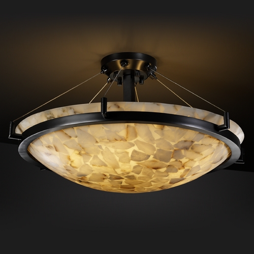 Justice Design Group Justice Design Group Alabaster Rocks! Collection Semi-Flushmount Light ALR-9681-35-MBLK