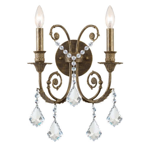 Crystorama Lighting Crystal Sconce Wall Light in English Bronze Finish 5112-EB-CL-SAQ