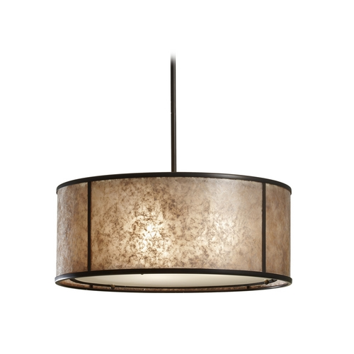 Feiss Lighting Drum Pendant Light with Beige / Cream Mica Shade in Antique Bronze F2639/3LAB