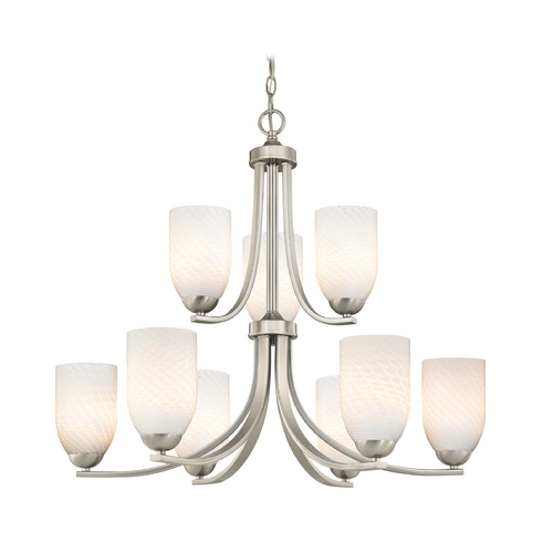 Design Classics Lighting Modern Art Glass Chandelier with Two Tiers and Nine Lights 586-09 GL1020D