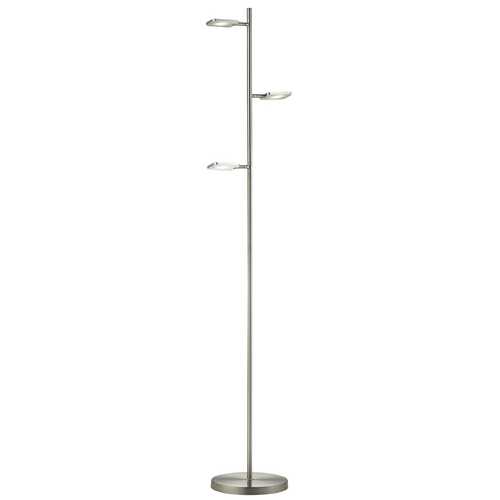 LEDs by ZEPPELIN Pex 60-Inch Satin Nickel 3-Light LED Floor Lamp 131 AL/SN