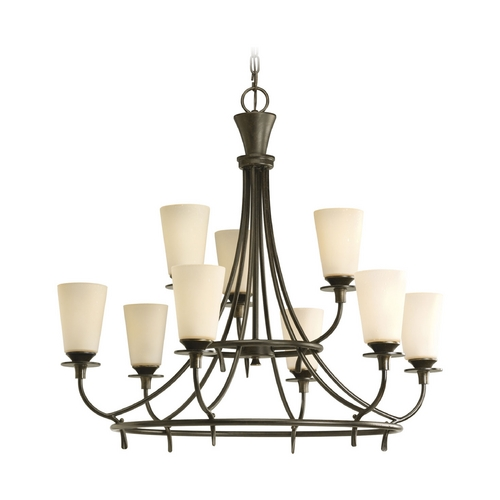 Progress Lighting Progress Chandelier with Beige / Cream Glass in Forged Bronze Finish P4039-77