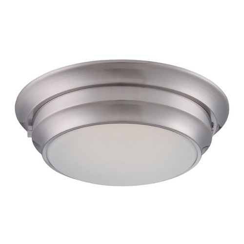 Nuvo Lighting LED Flushmount Light with White Glass in Polished Nickel Finish 62/156