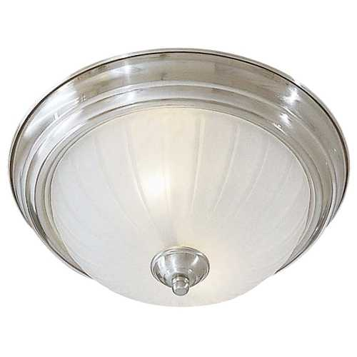 Minka Lavery Flushmount Light with White Glass in Brushed Nickel Finish 830-84-PL