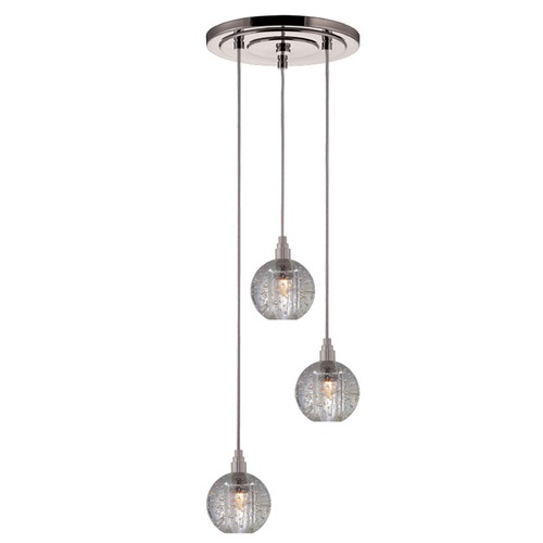 Hudson Valley Lighting Modern Multi-Light Pendant Light with Clear Glass and 3-Lights 3613-SN-S-001