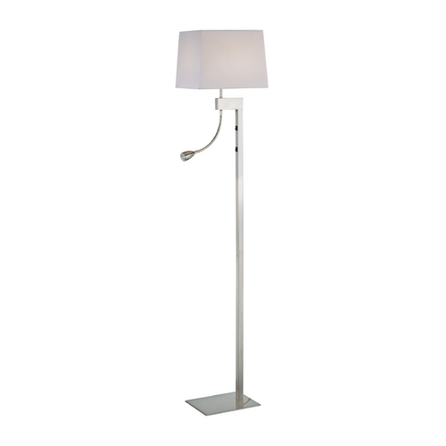 Lite Source Lighting Modern Floor Lamp with White Shade in Polished Steel Finish LS-81016PS/WHT