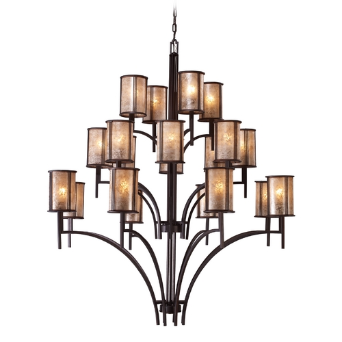Elk Lighting Chandelier with Brown Mica Shades in Aged Bronze Finish 15037/8+8+4
