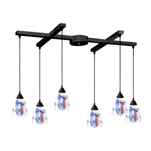 Elk Lighting Modern Multi-Light Pendant Light with Art Glass and 6-Lights 406-6MT