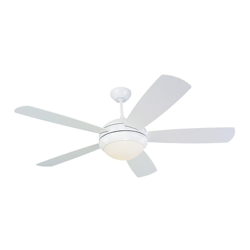 Monte Carlo Fans Modern Ceiling Fan with Light with White Glass in White / Matte Opal Finish 5DI52WHD-L
