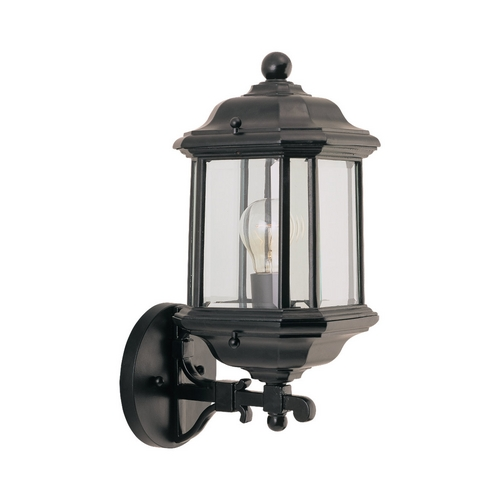 Sea Gull Lighting Outdoor Wall Light with Clear Glass in Black Finish 84030-12