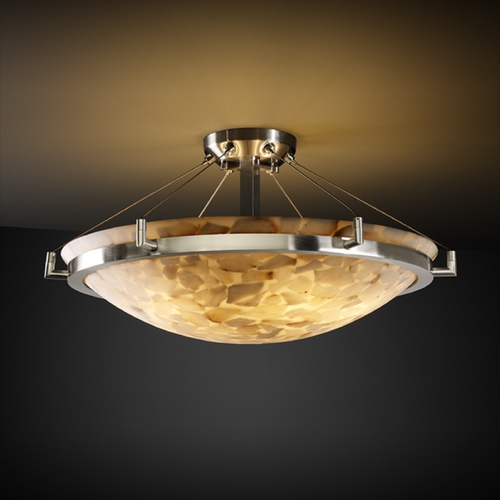 Justice Design Group Justice Design Group Alabaster Rocks! Collection Semi-Flushmount Light ALR-9681-35-NCKL
