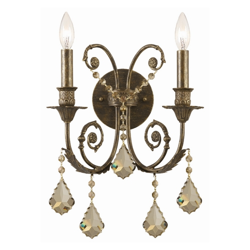 Crystorama Lighting Sconce Wall Light in English Bronze Finish 5112-EB-GT-MWP