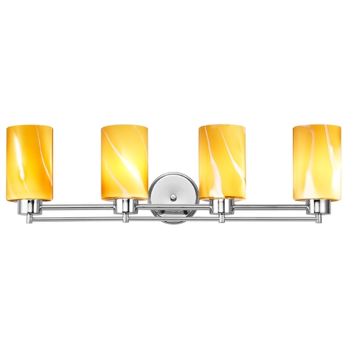 Design Classics Lighting Modern Bathroom Light with Butterscotch Art Glass in Chrome Finish 704-26 GL1022C