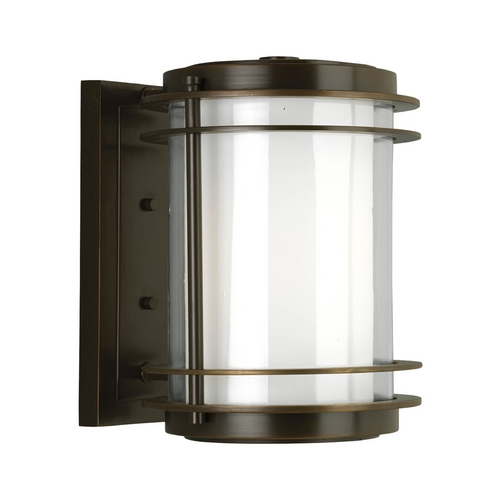 Progress Lighting Progress Modern Oil Rubbed Bronze Outdoor Wall Light with White Glass P5897-108