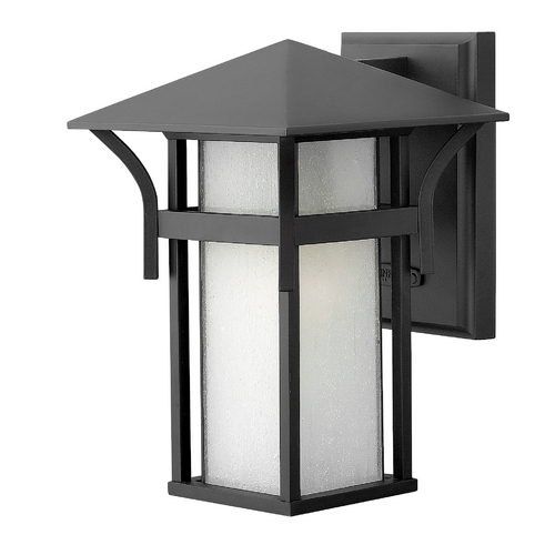 Hinkley Lighting Outdoor Wall Light with White Glass in Satin Black Finish 2570SK