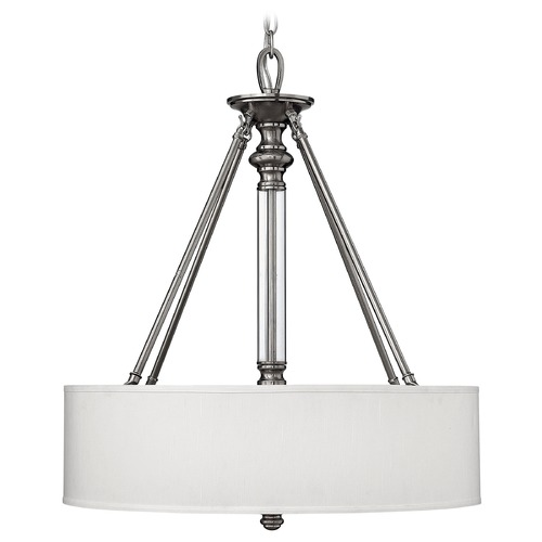 Hinkley Lighting Drum Pendant Light with Beige / Cream Shade in Brushed Nickel Finish 4794BN