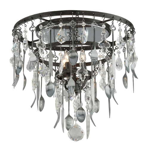 Troy Lighting Troy Lighting Bistro Graphite and Pewter Flatware Ceiling Light C3800