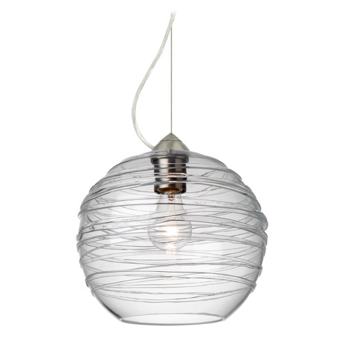 Besa Lighting Besa Lighting Wave Satin Nickel Pendant Light with Globe Shade 1KX-462761-SN