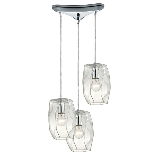Elk Lighting Elk Lighting Geometrics Polished Chrome Multi-Light Pendant 10441/3