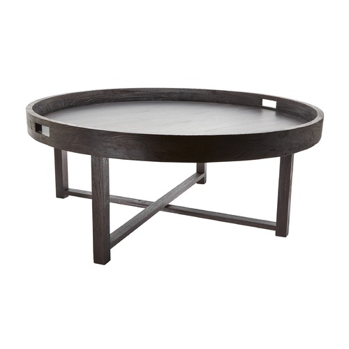 Dimond Lighting Round Black Teak Coffee Table Tray 784059