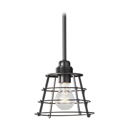 Feiss Lighting Bronze Mini-Pendant Light with Vintage Cage Shade P1252DBZ