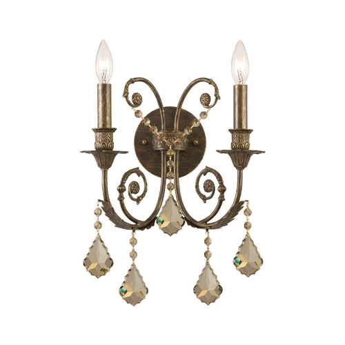 Crystorama Lighting Crystal Sconce Wall Light in English Bronze Finish 5112-EB-GTS