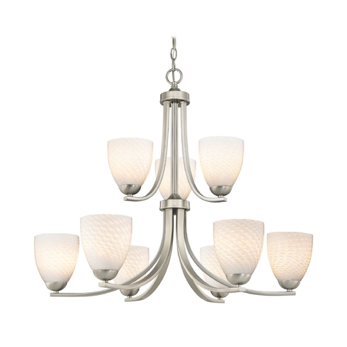 Design Classics Lighting Modern Chandelier with White Art Glass Bell Shades and Nine Lights 586-09 GL1020MB